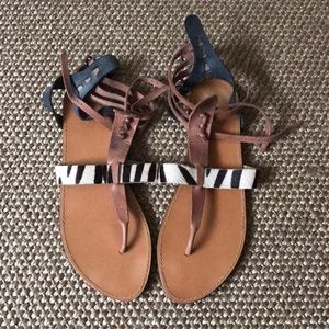Zara Leather and Hide Sandals